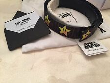 SS16 Moschino Couture X Jeremy Scott JS SUPER MARIO NINTENDO STARS LEATHER BELT