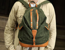 Men's Vintage Canvas Backpack College School Bag Hiking Satchel Travel Rucksack