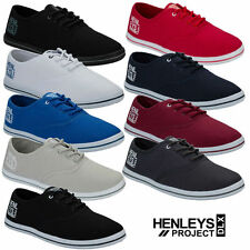 "Henleys ""Stash"" Mens Lace Up Canvas Shoes pumps UK 6-12 Plimsolls trainers daps"