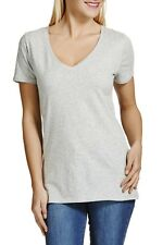 BONDS WOMENS LADIES GREY MARLE SHORT SLEEVE V NECK TEE