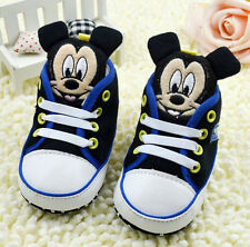 Toddler  Baby Boy Black Mickey Mouse Crib Shoes Soft Soles Size 0- 18 Months