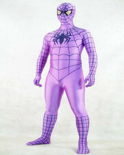 Cos Violet Lycra Spandex Spiderman Zentai Suit Super Hero Costumes Fancy Dress