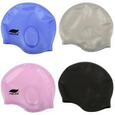 Silicone Unisex Adult Waterproof Swimming Swim Bathing Cap Hat Ear Cover Protect
