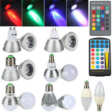 3W/5W RGB E27 E14 GU10 MR16 LED Light 16 Color Changing Lamp Bulb+Remote Control