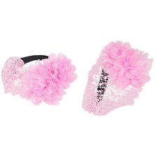 Kids Infant Baby Girls Lace Flower Elastic Hair Band HeaddreB3 - pink