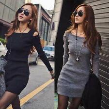 Womens Slim Ribbed Square Neck Long Sleeves Shoulder Hollow T-Shirt Dress BG