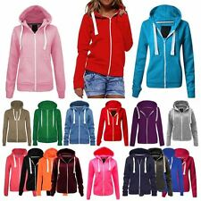 Ladies Plain Coloured Zip Hoody  Hoodie Sweatshirt Womens Fleece Tops Jacket