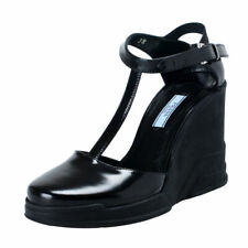 Prada Black Leather Ankle Wedges T-Strap Sandals Shoes Sz 6 6.5 7 7.5 8 8.5 9 10