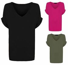 Ladies Stylish V Neck Loose Baggy Fit Casual Turn Up Batwing Sleeves Top T Shirt