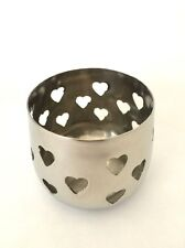 Silver Hearts Design Tea Light Candle Holder Wedding Table Decoration Set 3 or 6