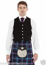 New Mens Scottish 5 Button Black Argyll Kilt Waistcoat 100% Wool