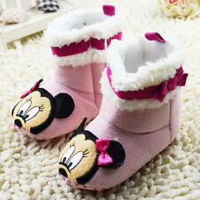 Baby Girl Pink Mickey Mouse Winter snow boots Crib Shoes Size 0-18 Months/M