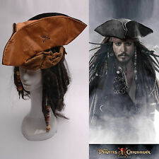 Pirates of the Caribbean Jack Sparrow Tri Corner Buccaneer Cosplay Hat Wig New