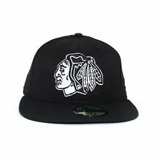 New Era Chicago Blackhawks Basic Black and White 59Fifty Cap