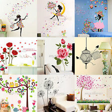 Girl Flower Removable Wall Art Sticker Vinyl Decal DIY Room Home Mural Decor UK
