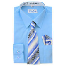 BERLIONI KIDS BOYS ITALIAN LONG SLEEVE DRESS SHIRT WITH TIE & HANKY LIGHT BLUE