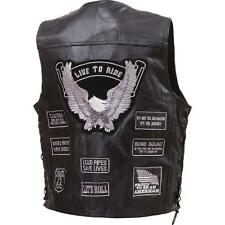 Mens Black Leather Biker Motorcycle Harley Rider Chopper Vest Graytone Patches