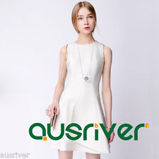 Brand New Women's Sleeveless White Dress Above Knee Cocktail Party Bubble Dress