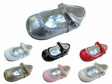 GIRLS BABY-TODDLER FIRST OCCASION-PARTY-WEDDING DIAMANTE SHOES WHITE-GOLD-PINK