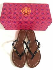 NWB Tory Burch Monogram Flat Thong Sandals Black Leather Size 7-9