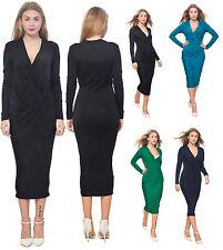 WOMEN'S DRAPED WRAP MIDI DRESS EVENING COCKTAIL PARTY DRESS LONG SLEEVE V NECK
