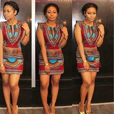 New Women Summer Boho Casual Sleeveless Traditional African Print Party Dress