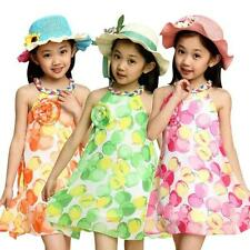 Girl Chiffon Apple Print Spaghetti Strap Off Shoulder Casual Kids Clothes Dress