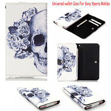 Skull Pattern Universal Flip Leather Wallet Case Cover For Sony Mobile Phones