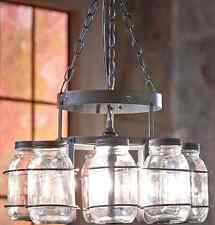 Canning Jar Chandeliers Ceiling Light Lamp Fixture Rustic Wrought Iron Hanging