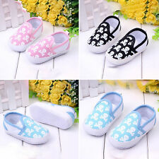 Toddler Baby Girls Pram Shoes Skull Sneaker Soft Sole Trainers Slip-on Canvas