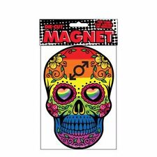 Rainbow Sugar Skull with 2 Male Symbols Design Die Cut Magnet Home or Auto