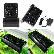 Aquarium Cooling Fan Fish Tank Cold Wind Chiller 2 Level With Power Adapter New