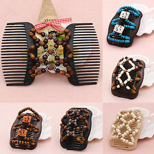 High Easy Magic Wood Beads Double Hair Comb Clip Stretchy Women Hair Accessories