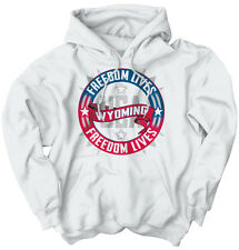Freedom Lives Wyoming State US T Shirt American Flag Patriotic Hoodie Sweatshirt