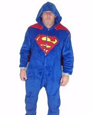 Superman Costume Jumpsuit Pajama with Cape & Hood Outfit Coral Fleece Adult Size