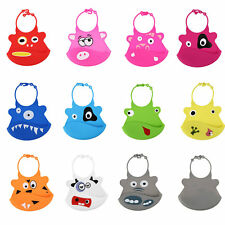 Washable 1PCS Infant Baby Burp Cloth Bibs Silicone New Cartoon Feeding Soft BG
