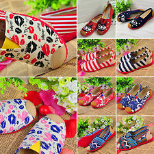 Women Girls Slip-on Casual Flats Comfort Canvas Leisure Loafer Shoes Sneakers