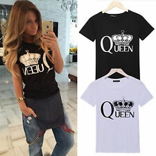 Womens Short Sleeve Letter Print Casual Loose Jumper Tops Blouse T-shirt Shirts