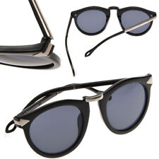 Womens Round Vintage Style Plastic Frame Designer Sunglasses with FREE CASE