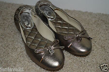 NEW MICHAEL KORS Ballet Flats Womens Shoes Slip-on Leather Metallic Pewter Charm