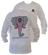 New Southern Couture Preppy Elephant Chevron Comfort Colors Long Sleeves T-Shirt