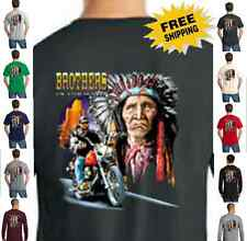 Biker Brothers In Wind Indian Classic Motorcycle Custom Chopper New Mens T Shirt