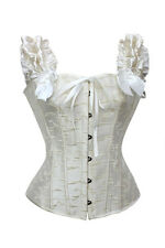 Sexy Steel Boned Lace up Corset Lace Bustier  Black or White Plus Size 5810