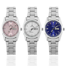 WWOOR Women Stainless Steel Round Luminous Hand Quartz Analog Wrist Watch BG