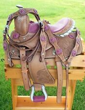 "10"" 12"" Med Oil + PINK GATOR SEAT Bling +HSBP SET Western PONY MINI TRAIL Saddle"