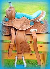 "10"" 12"" Med Oil + BLUE GATOR SEAT +BLIING conchos Western PONY MINI TRAIL Saddle"