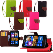 Leaf Litchi Card Wallet Leather Flip Case Cover For Nokia Lumia 830 925 930 950