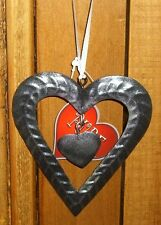 NEW SHABBY CHIC Decoration METAL Heart within Heart Satin Hanging Ribbon 12cm