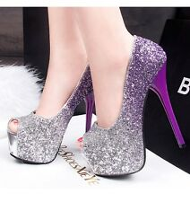 Womens Platforms Shoes Peep-toe Sequins Stilettos High Heels Sandals Party Pumps