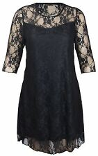 New Womens Plus Size Lace Lined Going Out Dress 14-28